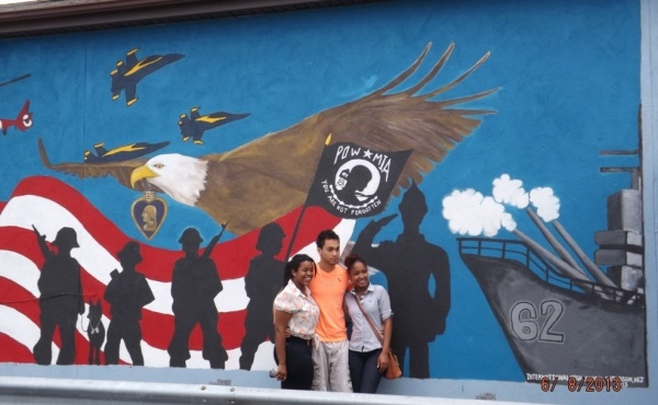 Mural - International Students in front of mural